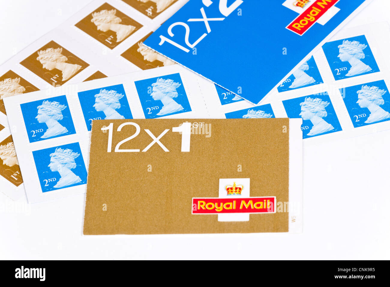 Royal Mail postage stamps in first and second class Stock Photo