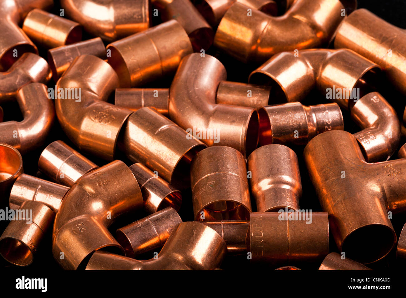 copper metal pipe connectors / fittings - Stock Image