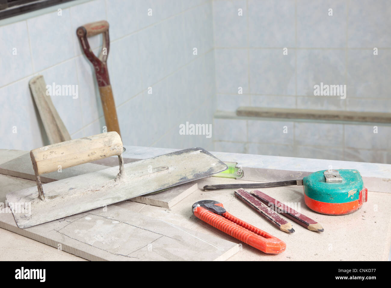 Tools used in a house renovation site - Stock Image