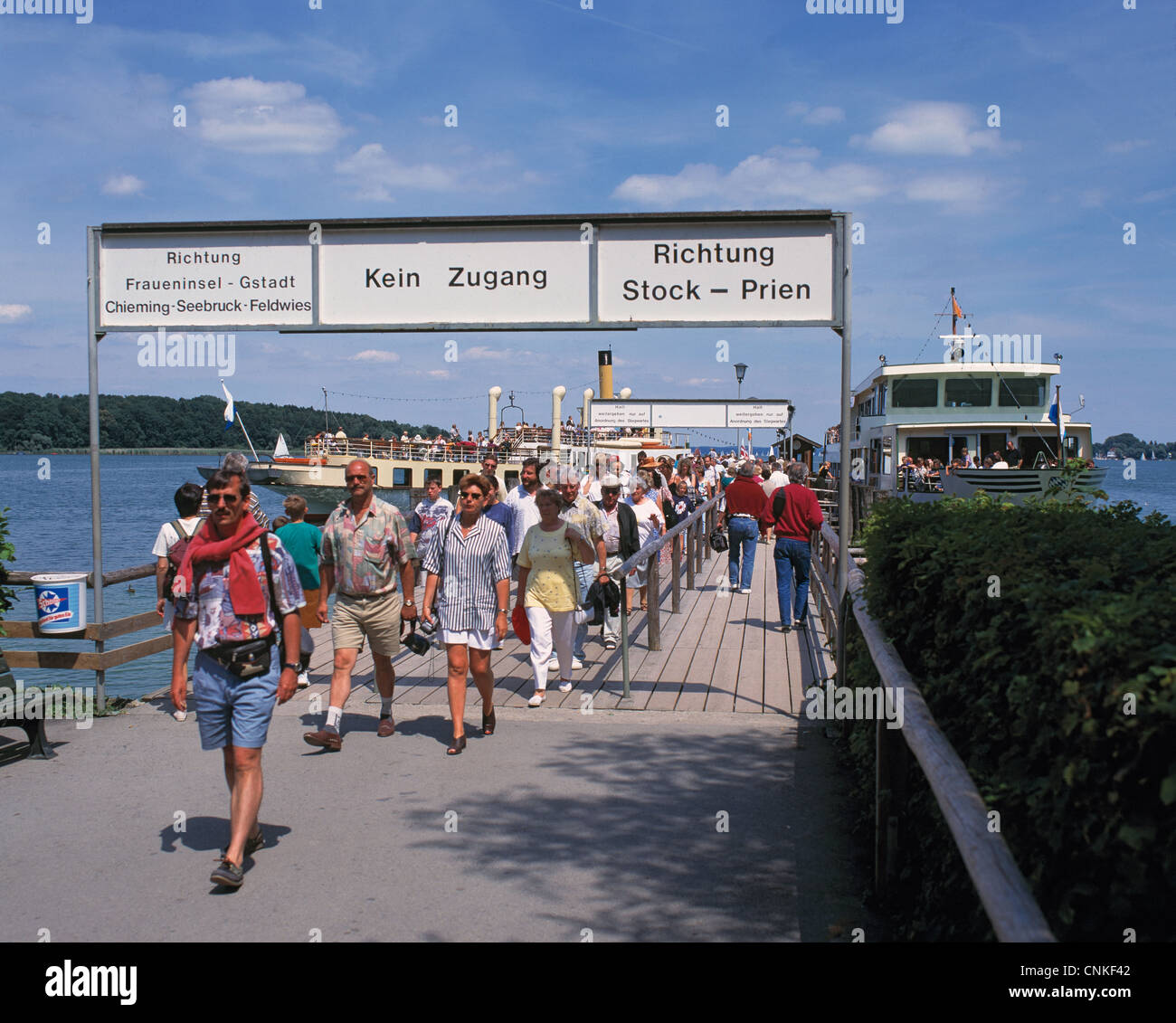 D-Chiemsee, Alps Foreland, Upper Bavaria, Bavaria, landing place at the Herreninsel in the Chiemsee, excursion ship, - Stock Image