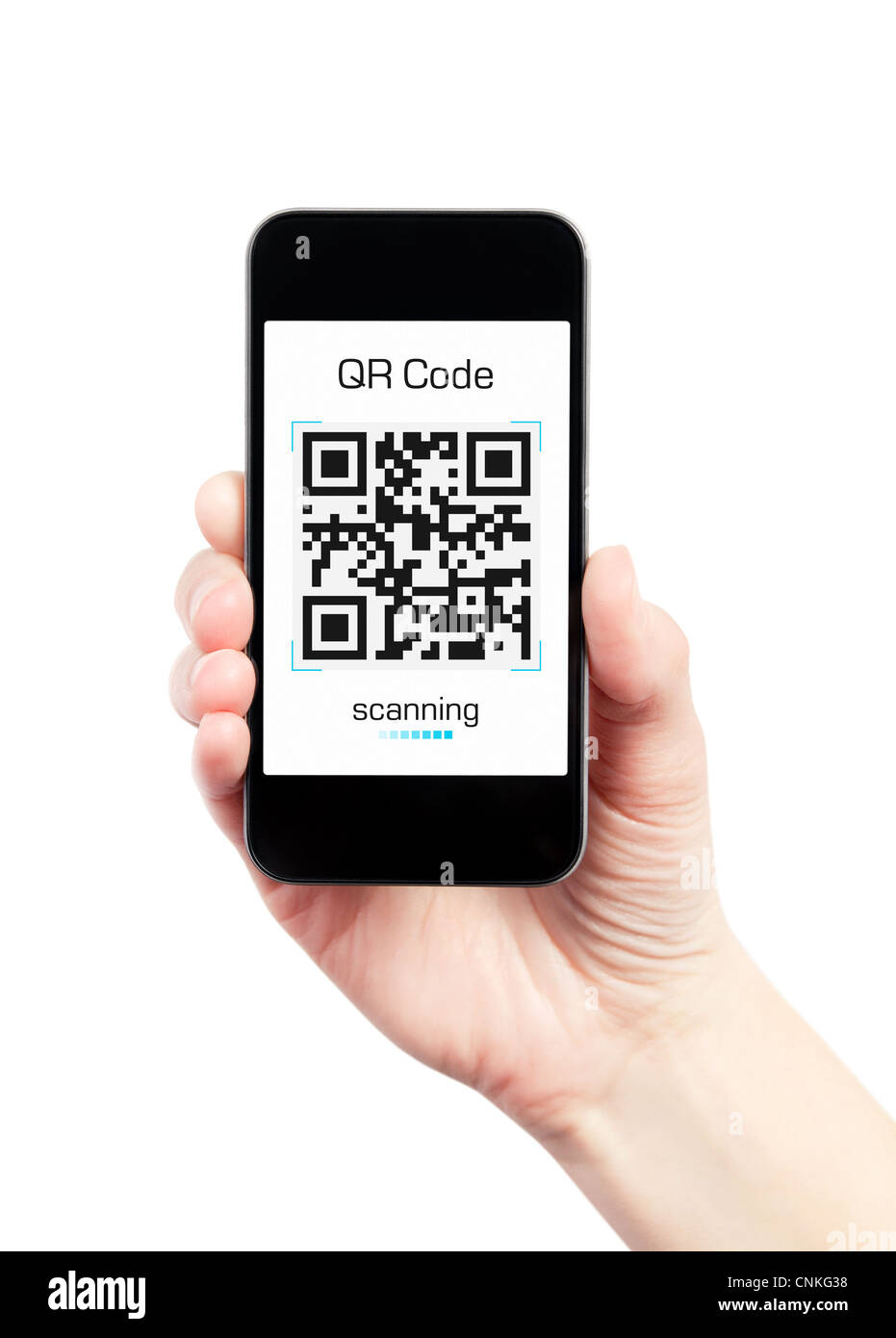 Hand holding mobile smart phone with QR code scanner on the
