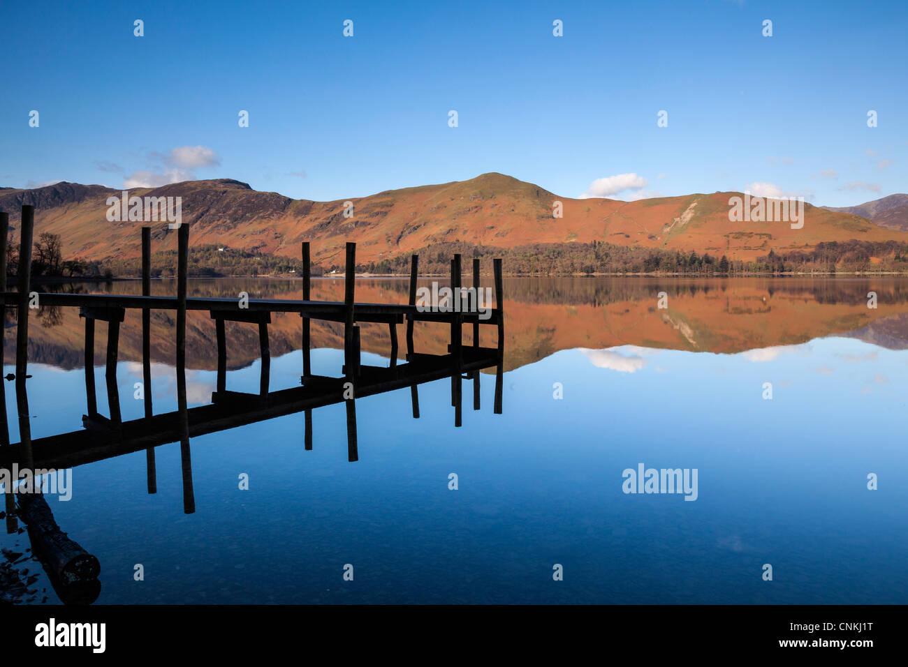 Landing Stage, Barrow Bay, Derwentwater, near Keswick English Lake District - Stock Image