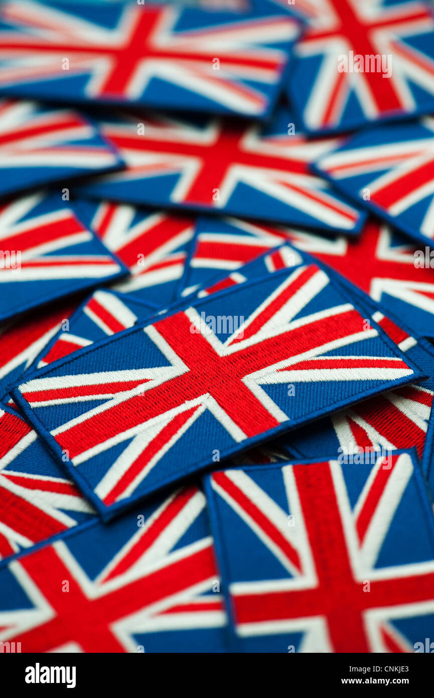 Union Jack flag embroidered patch pattern. Shallow DOF - Stock Image