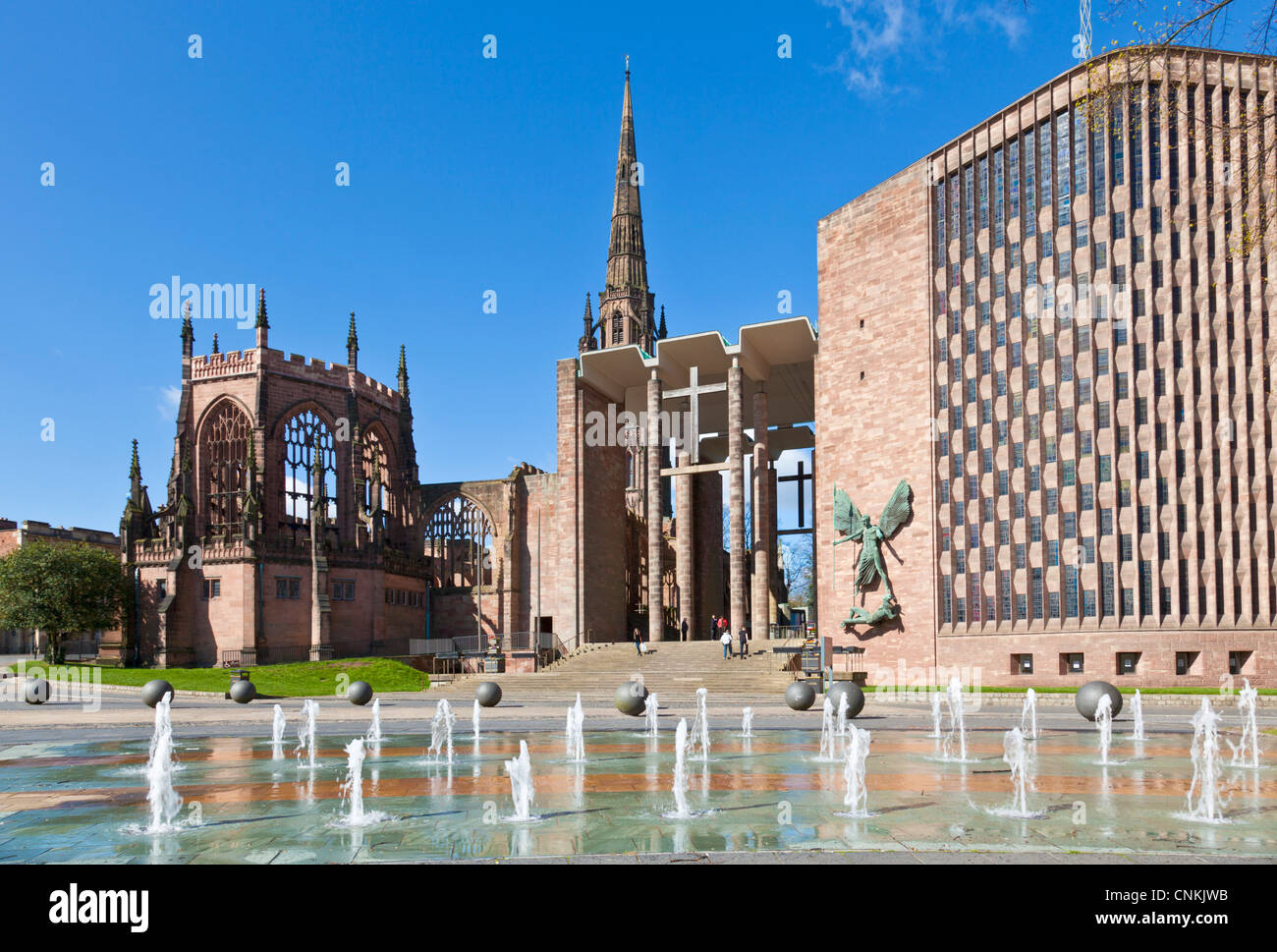 Coventry old cathedral shell and new modern cathedral West midlands England UK GB EU Europe - Stock Image