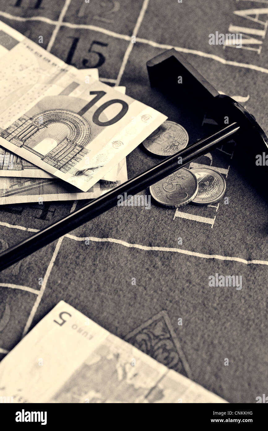 money on a roulette table Stock Photo