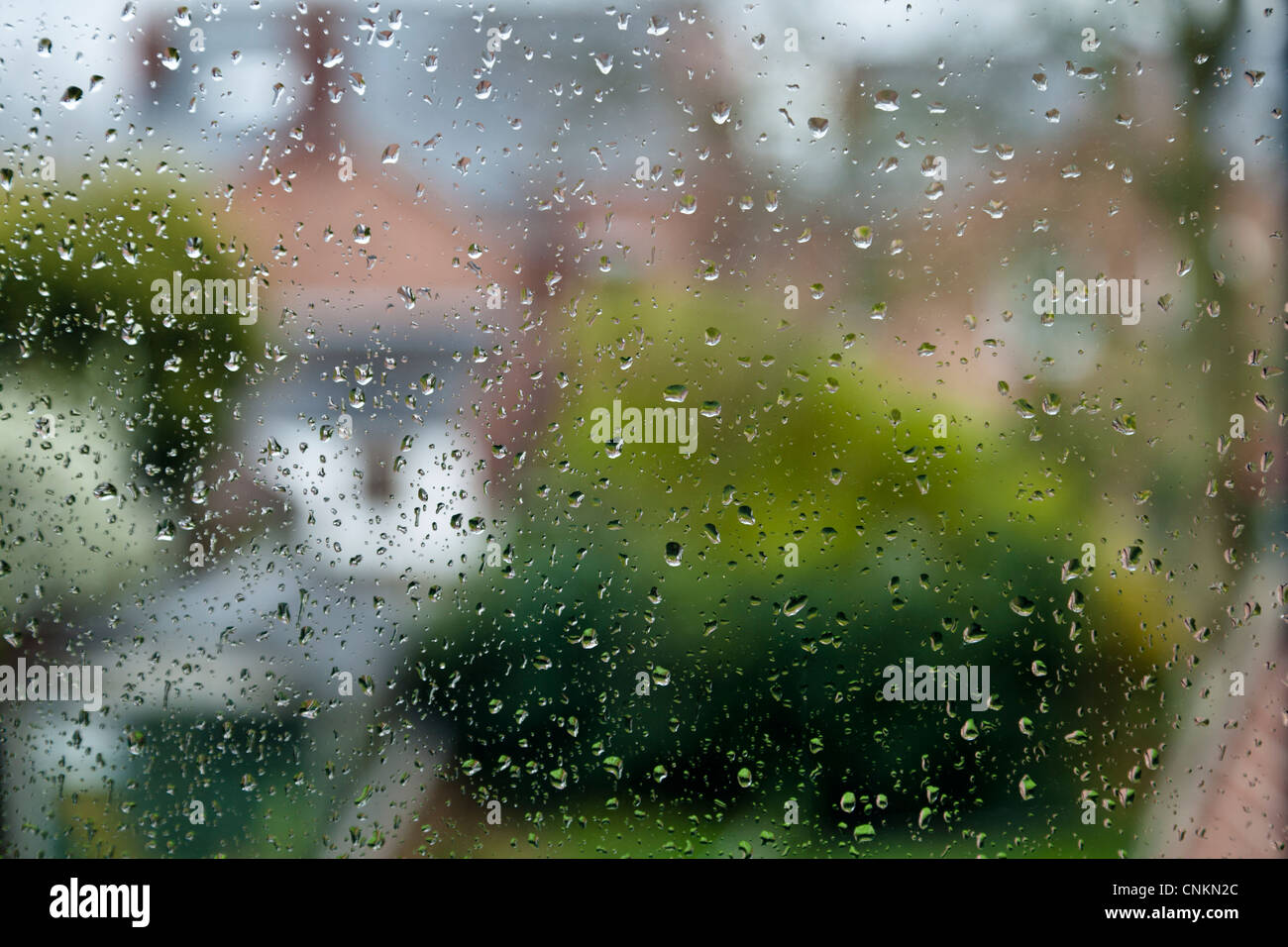 Rainy day. Raindrops on a window with the distance out of focus, England, UK - Stock Image