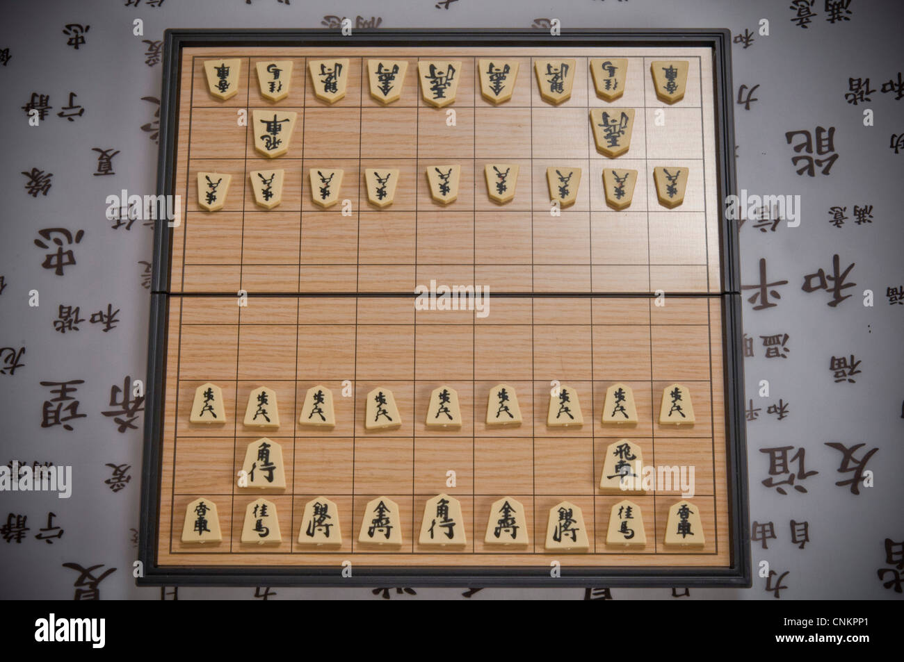 japanese chess shogi board and pieces stock photo