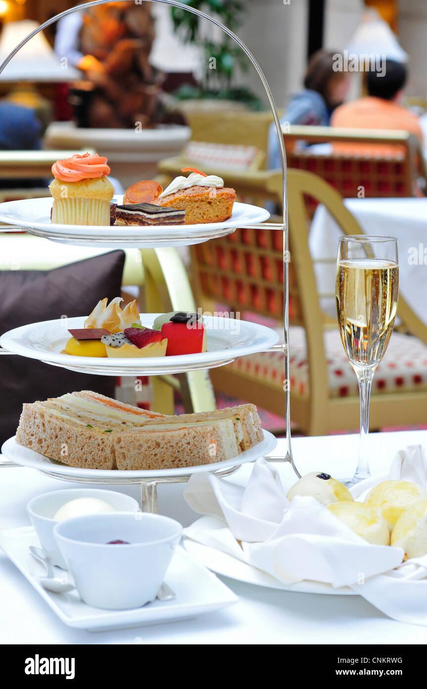 Traditional Afternoon Tea at The Landmark Hotel, London, England, UK - Stock Image