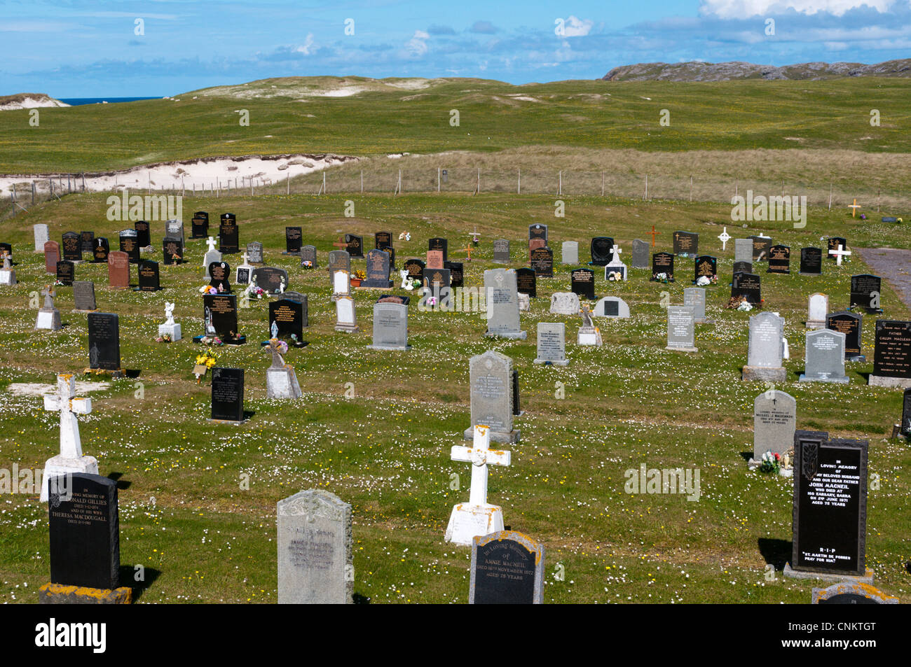 Cemetery on the machair at Allathasdale on west coast of Barra in the Outer Hebrides. - Stock Image