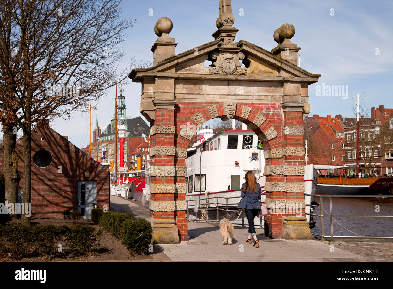 historic harbour gate ' Hafentor' Emden, East Frisia, Lower Saxony, Germany - Stock Image