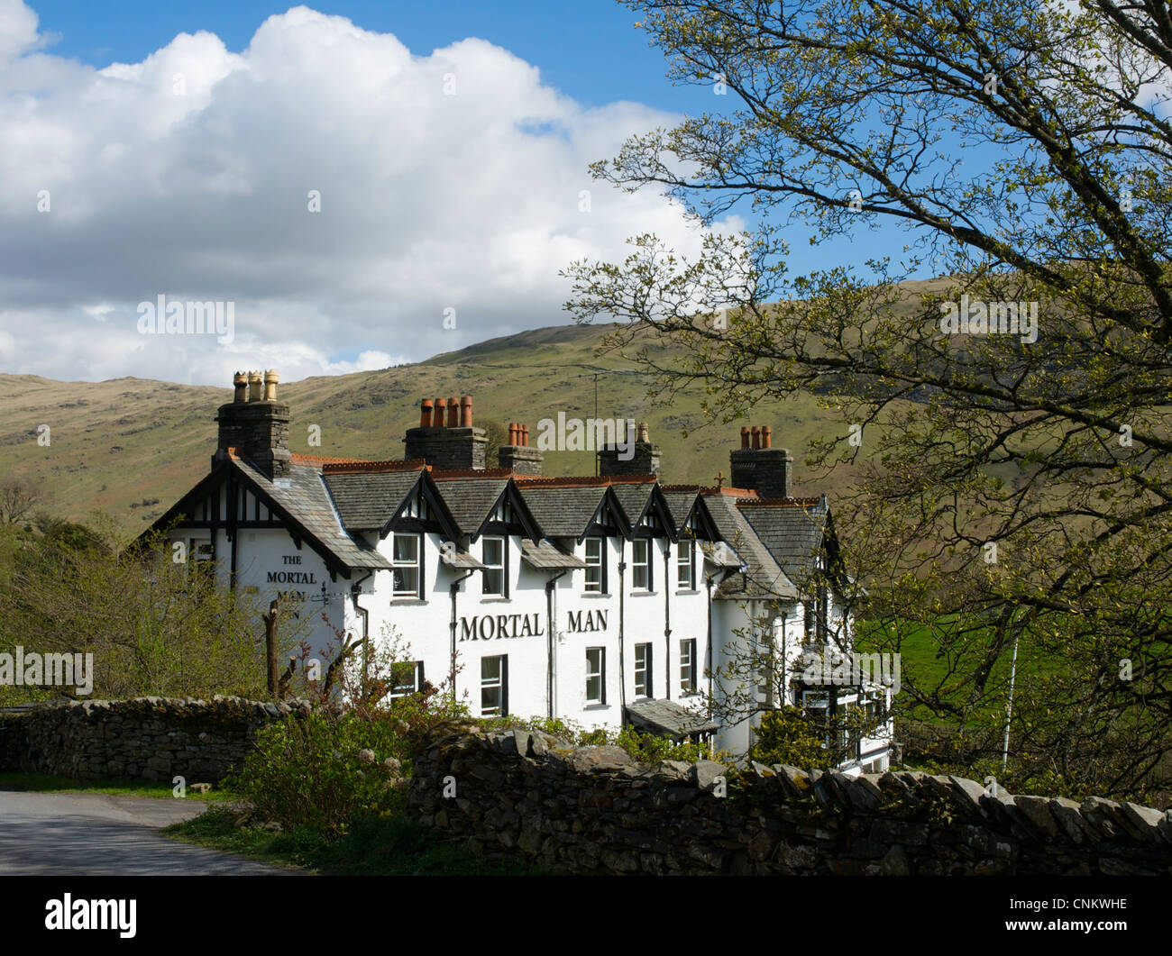 The Mortal Man pub, in the village of Troutbeck, Lake District National Park, Cumbria, England UK - Stock Image