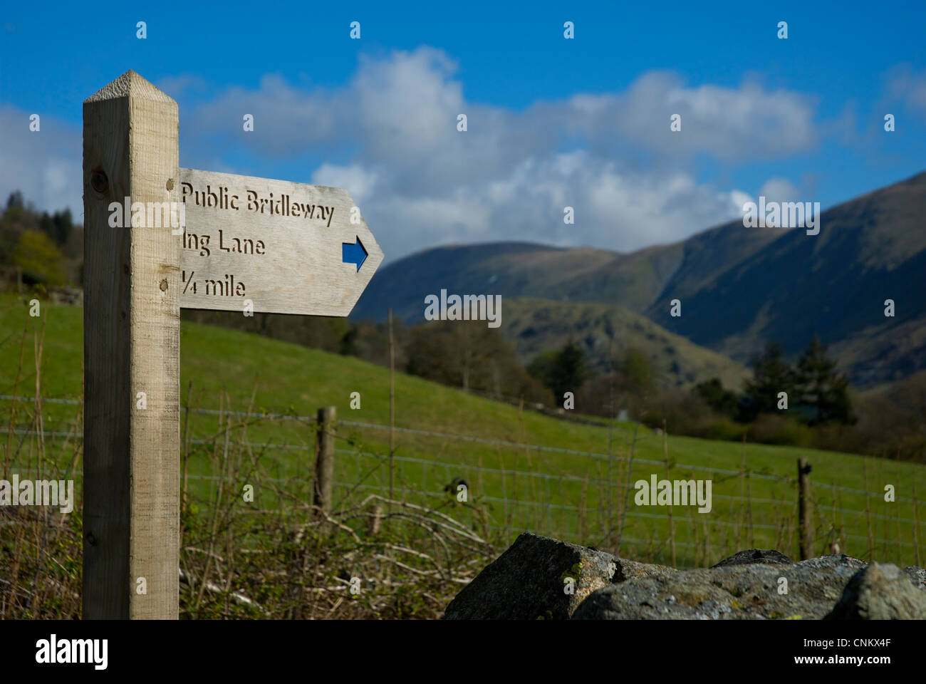 Sign for public bridleway in the village of Troutbeck, Lake District National Park, Cumbria, England UK - Stock Image