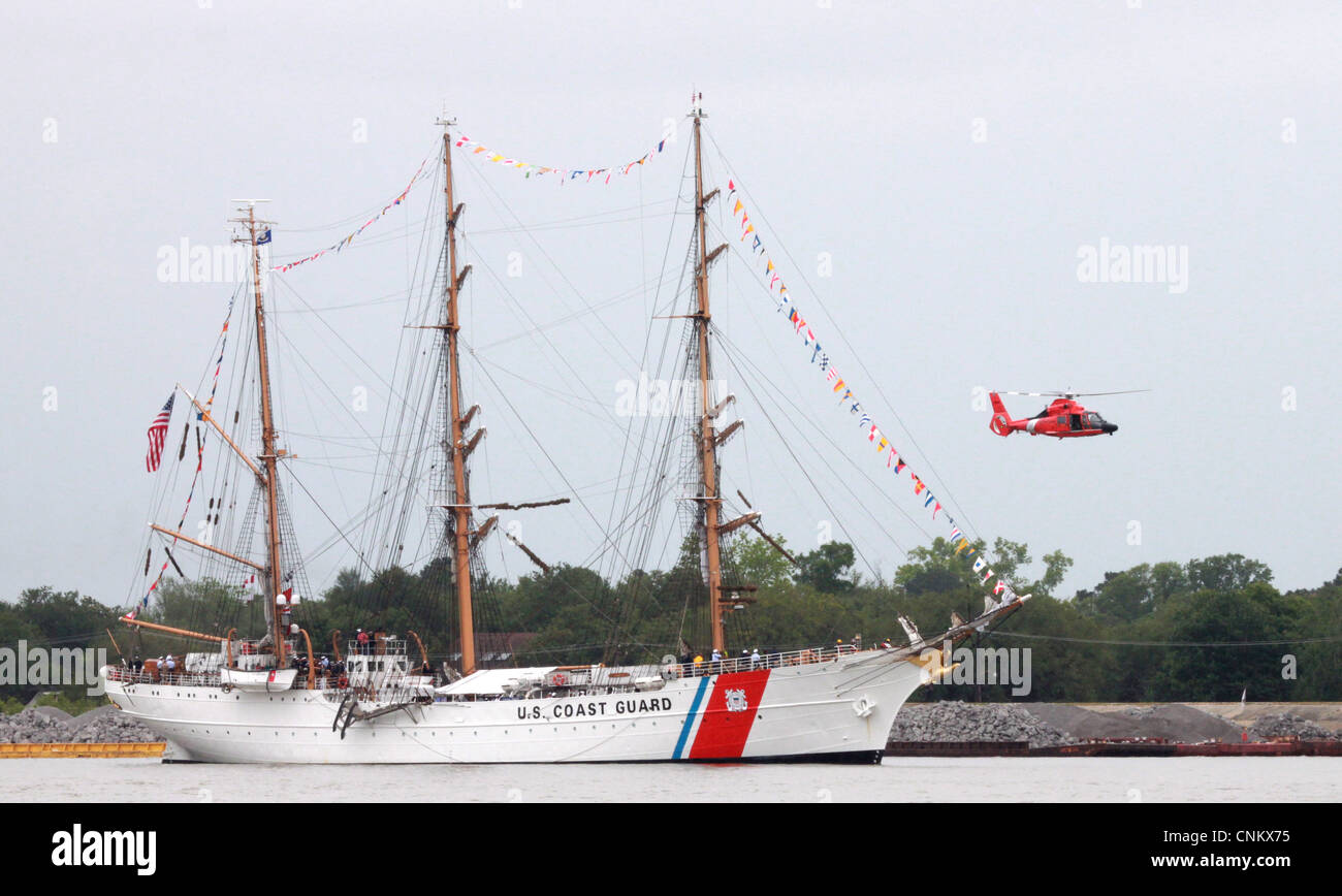 The U.S. Coast Guard tall ship Eagle arrives in New Orleans as part of The War of 1812 Bicentennial Commemoration. - Stock Image