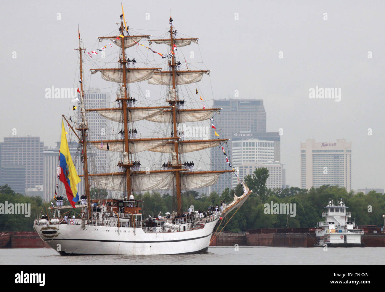 The Ecuadorian tall ship BAE Guayas arrives in New Orleans in conjunction with The War of 1812 Bicentennial Commemoration. - Stock Image