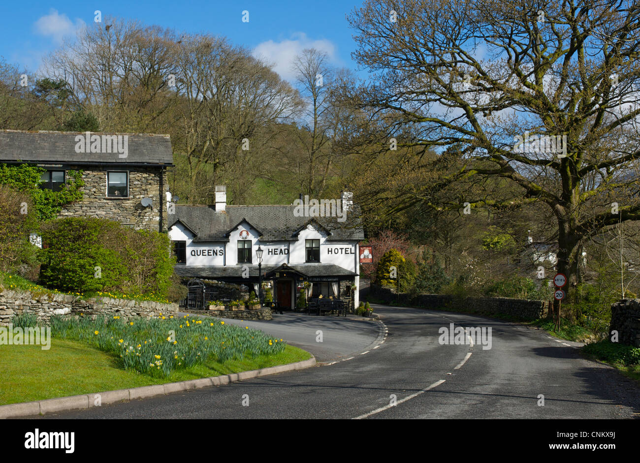 The Queens Head Hotel, in the village of Troutbeck, Lake District National Park, Cumbria, England UK - Stock Image
