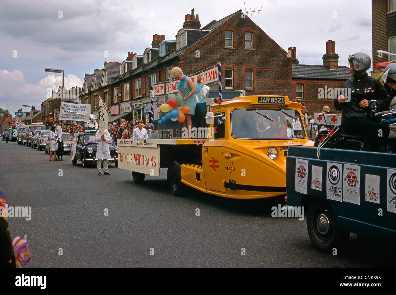Truck advertising British Railways London to Manchester train service in Watford Whitsun Carnival parade, St Albans - Stock Image