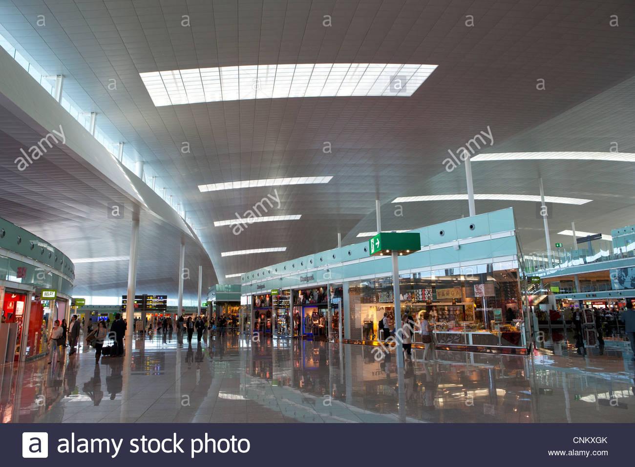 Terminal 1 at Barcelona Airport, Spain - Stock Image