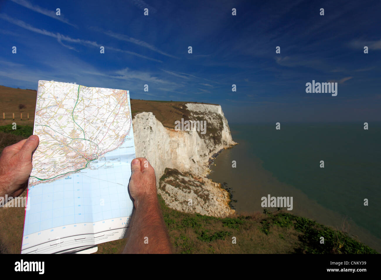 Map Of England Dover.Adult Male Standing With Os Map At The White Cliffs Of Dover Kent