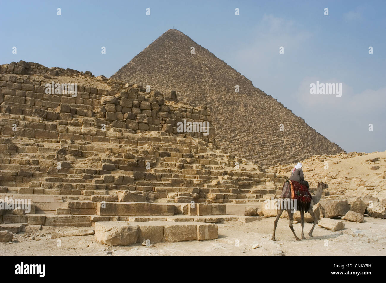Egypt. Pyramid G1-b located to the eastern side of the Great Pyramid of Giza or Pyramid of Khufu (at the background).Old - Stock Image