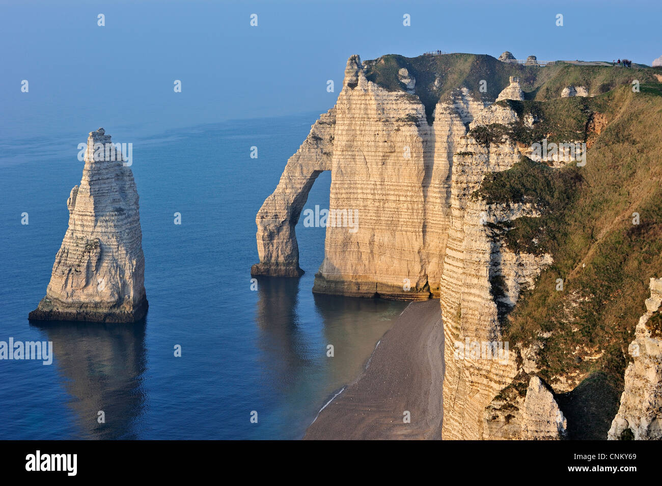 L'Aiguille and the Porte D'Aval, a natural arch in the eroded chalk cliffs at Etretat, Côte d'Albâtre, - Stock Image