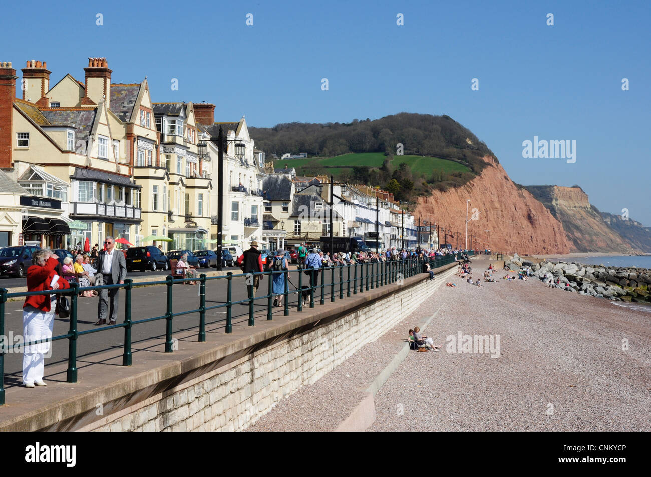 Holidaymakers on the Esplanade, Sidmouth, Devon, England, UK - Stock Image