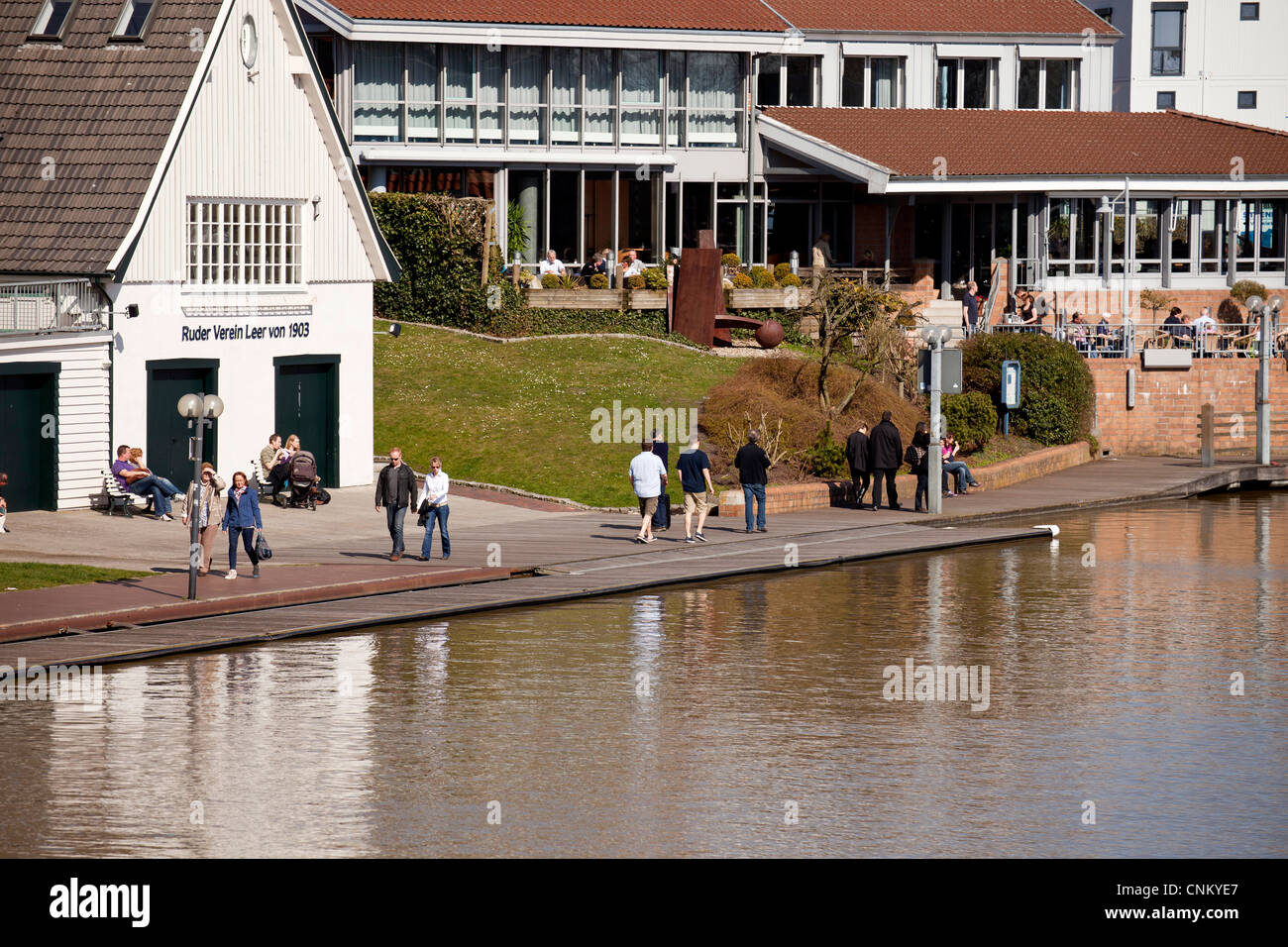 Ludwig-Klopp-Promenade at the harbour in Leer, East Frisia, Lower Saxony, Germany - Stock Image