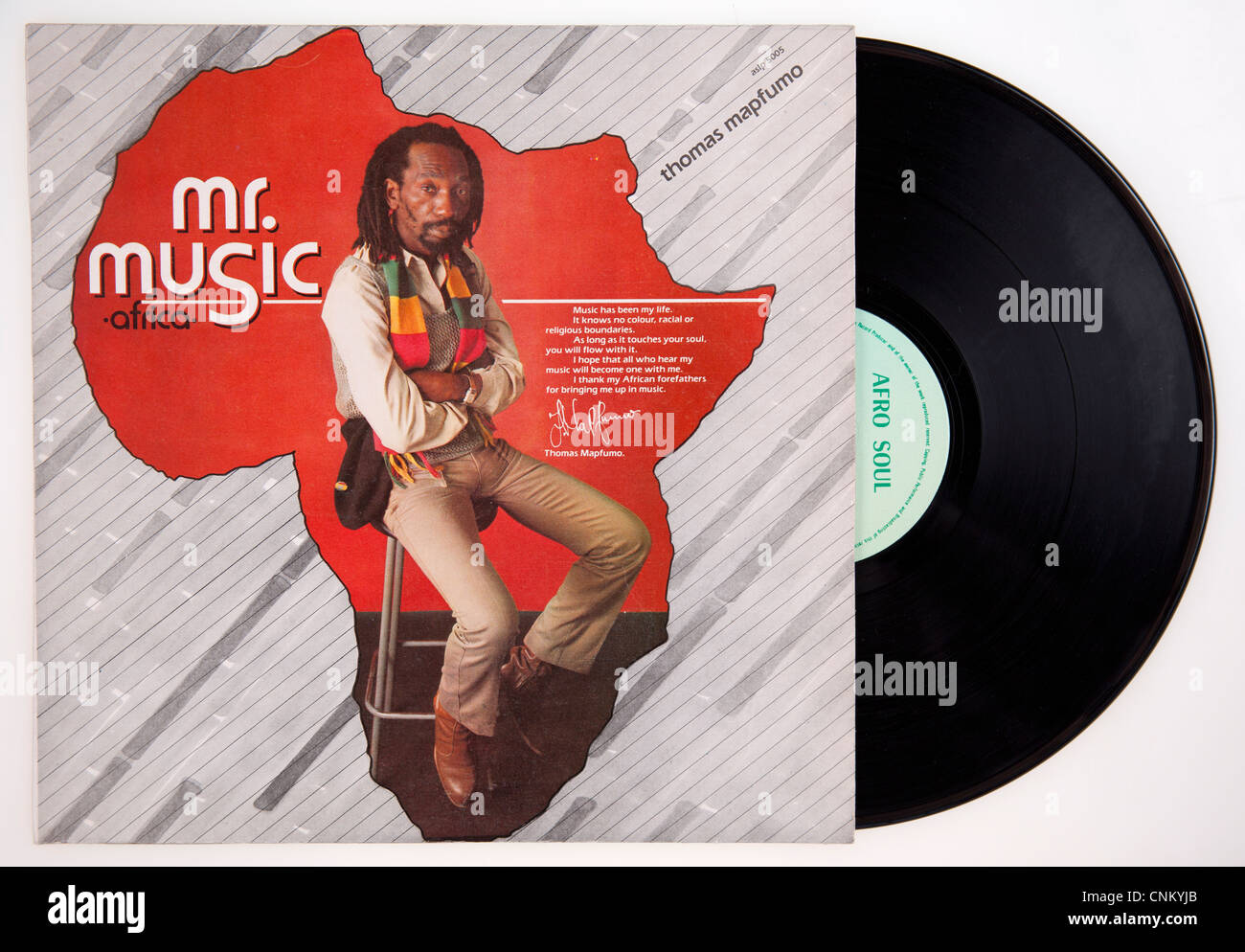 Cover of vinyl album 'Mr Music (Africa)' by Thomas Mapfumo & The Blacks Unlimited released 1985 on Afro Soul Records Stock Photo