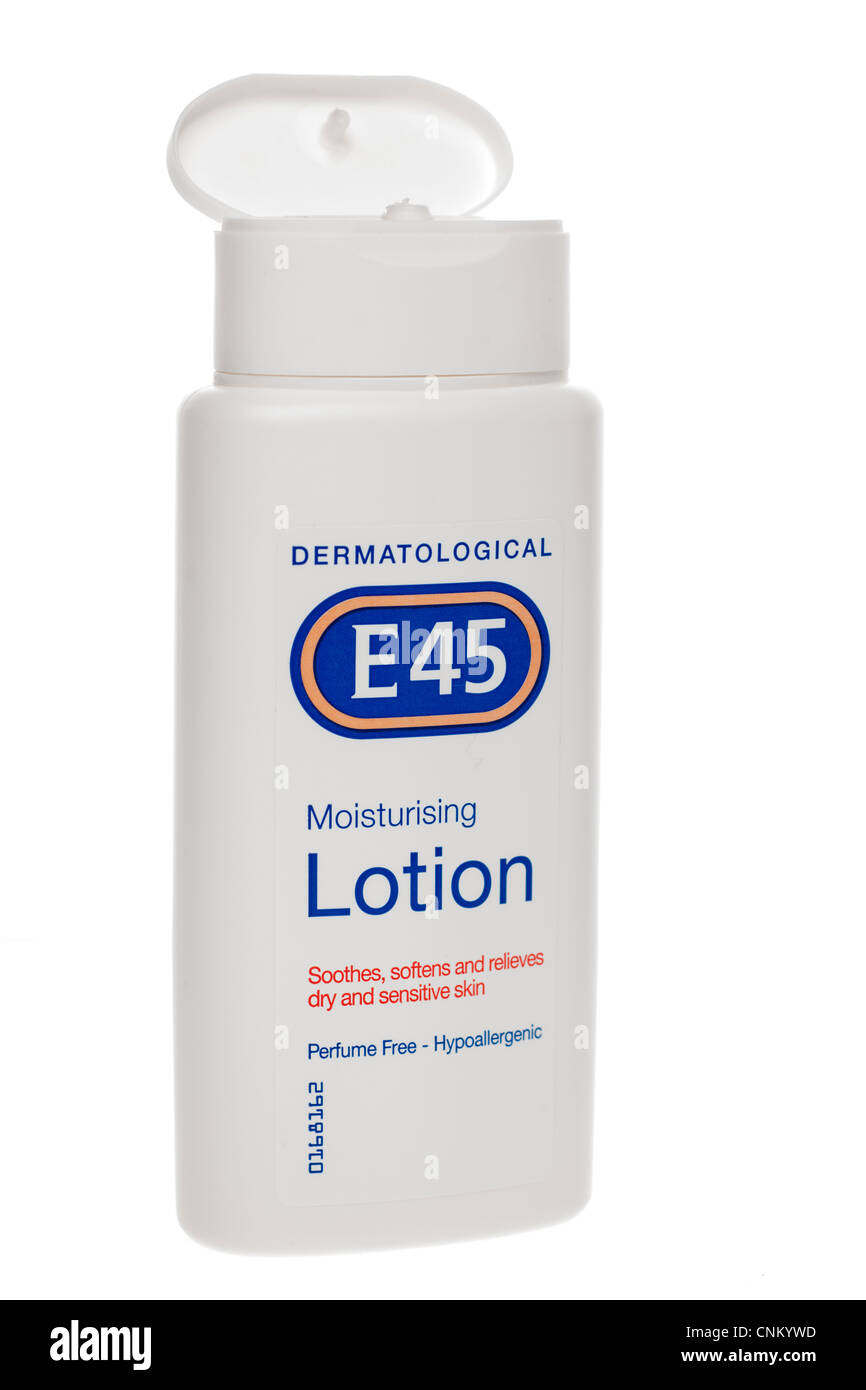 Container of E45 moisturising lotion - Stock Image