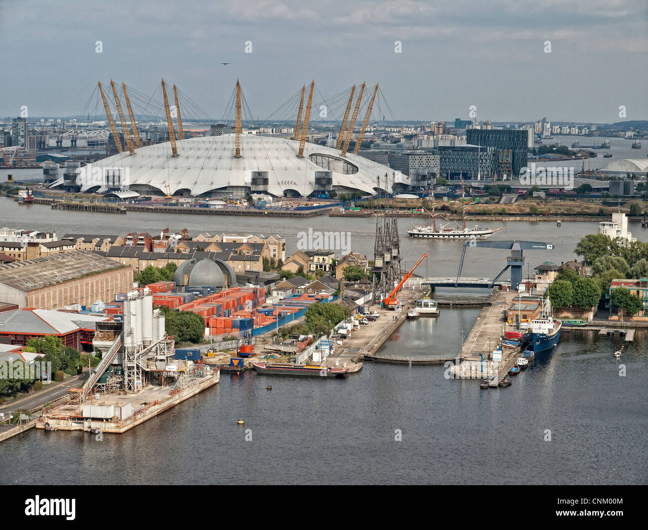 O2 arena and River Thames seen from Canary Wharf London Stock Photo