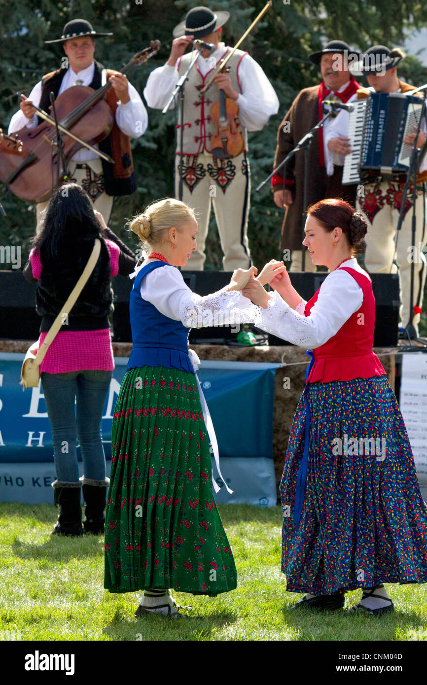 Polish Highlanders folk dancers and musicians perform at the Trailing of the Sheep Festival in Hailey, Idaho, USA. - Stock Image