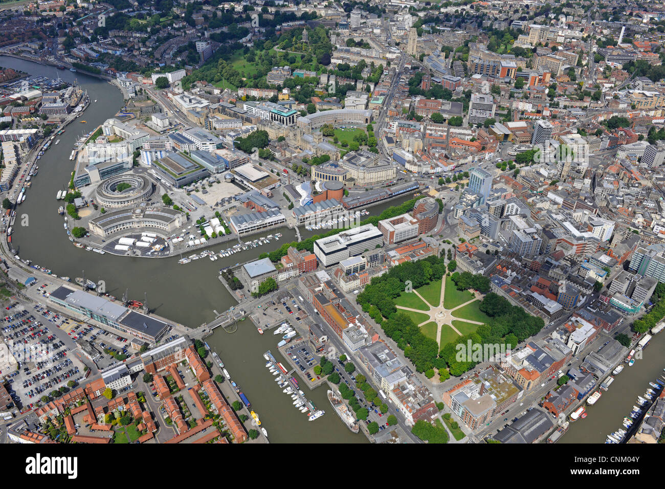 Aerial photograph showing Bristol city centre, River Avon, Queen Square and Harbourside - Stock Image