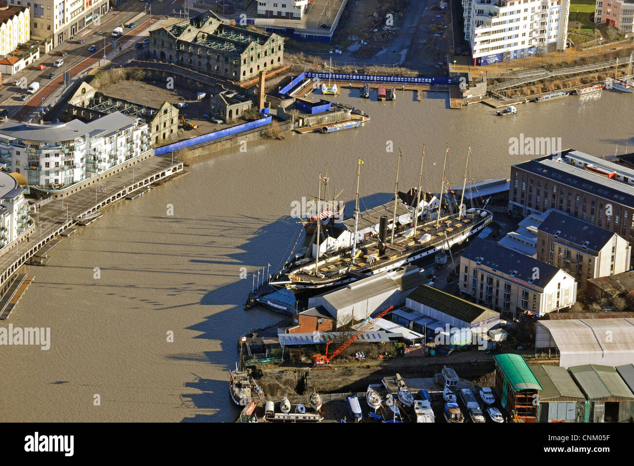 Aerial photograph showing the SS Great Britain moored alongside the River Avon in Bristol - Stock Image