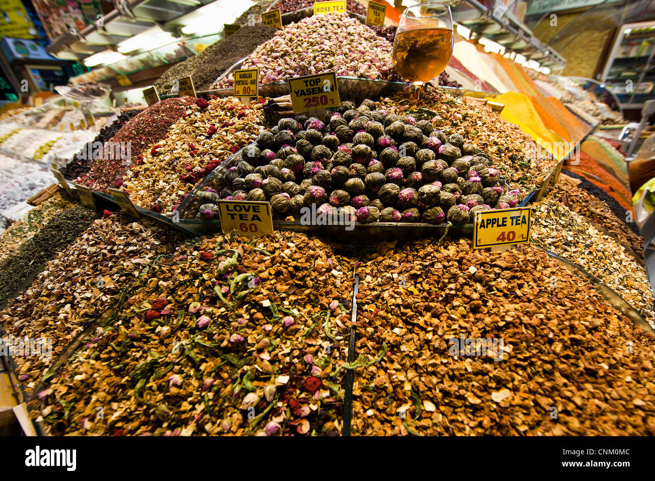 teas and spices at the Egyptian Bazaar, Istanbul, Turkey - Stock Image