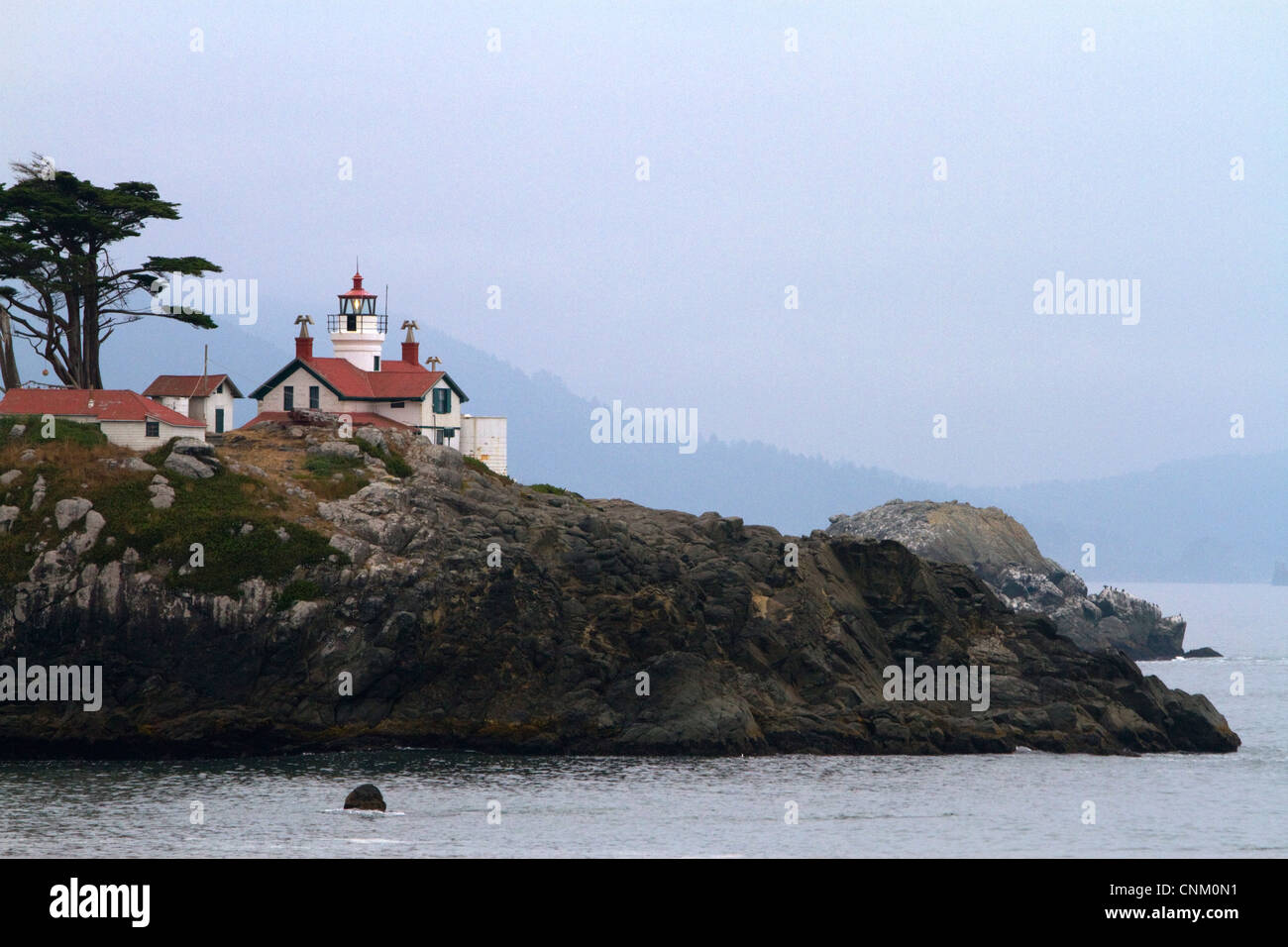 Battery Point light on the Pacific Ocean at Cresent City, California, USA. - Stock Image