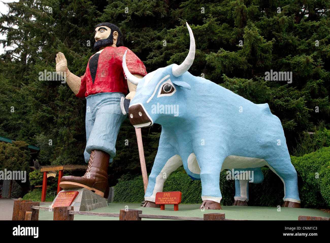 Paul Bunyan and Babe the Blue Ox statues at Trees of Mystery, a roadside attraction located in Klamath, California, Stock Photo