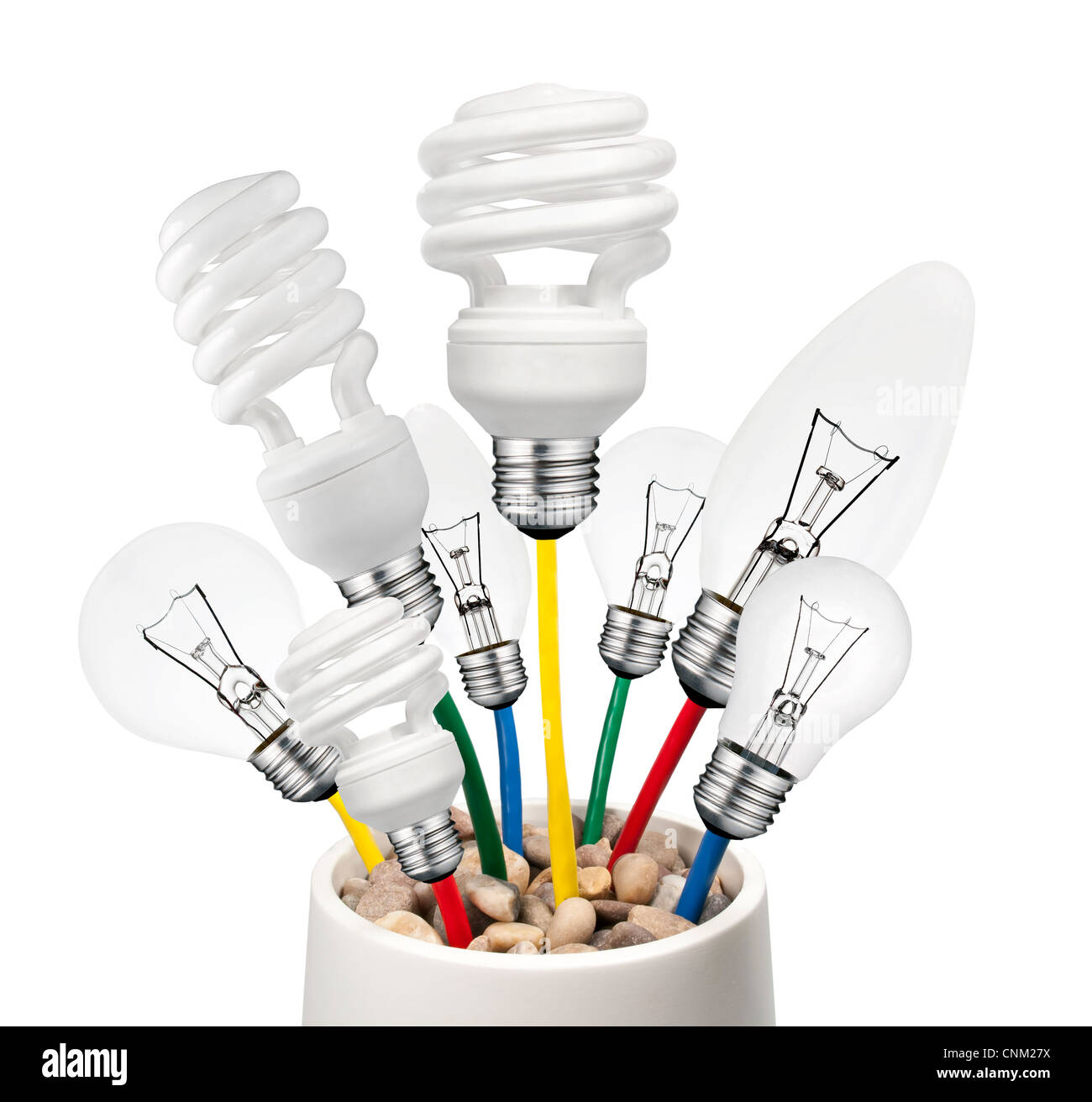 New Ideas - Problem Solution - ligth bulbs growing out of a pot - Stock Image