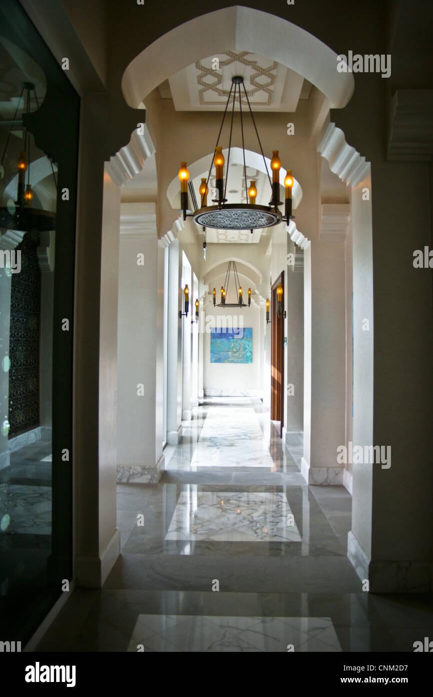 Islamic styled interior of Park Hyatt Hotel, Dubai Creek, Dubai, United Arab Emirates Stock Photo