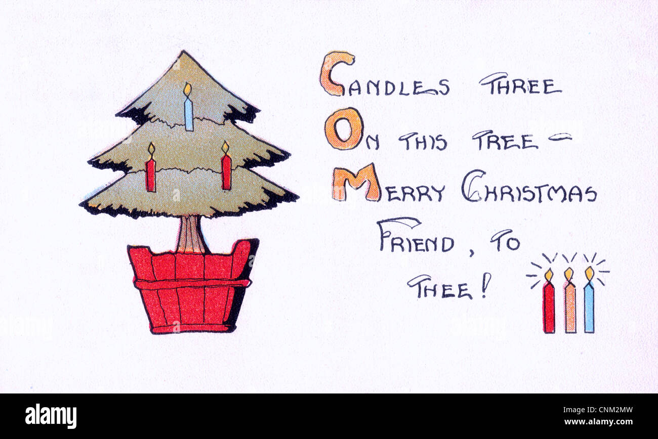 Candle Three, on this tree, Merry Christmas Friend to thee - Vintage post card - Stock Image
