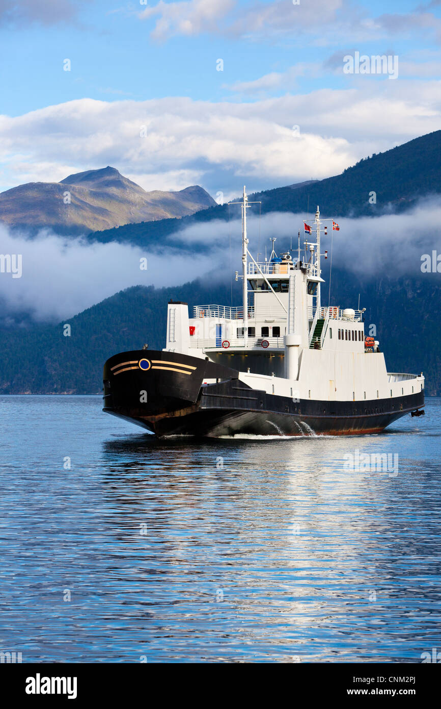 Ferry over fjord in Norway. - Stock Image