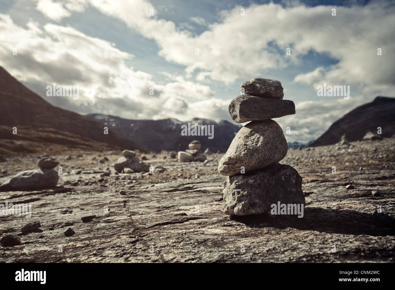 Small hand-made stone tower in Norway. - Stock Image