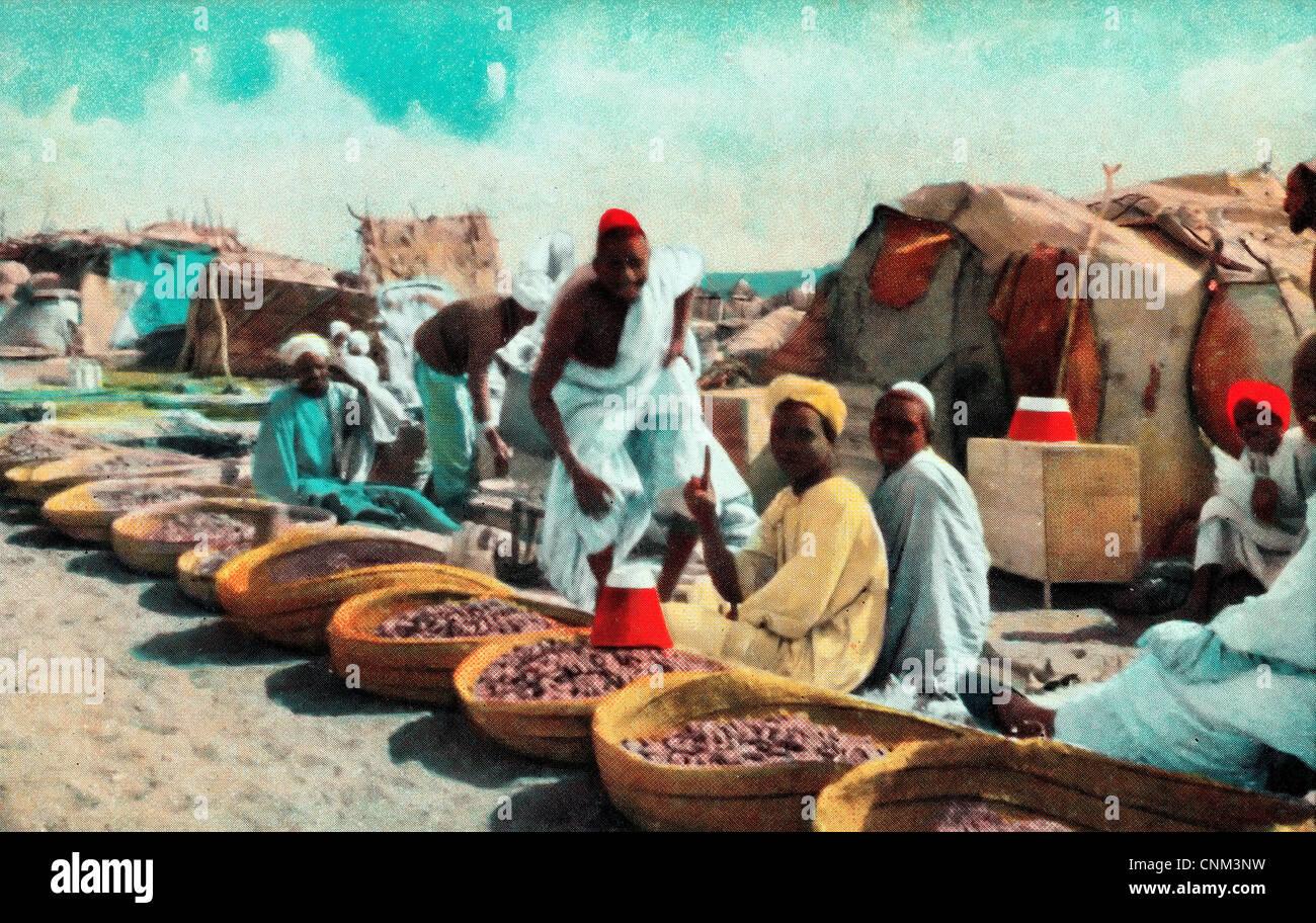 African Merchants - Omdurman Date Market Postcard, Sudan, circa 1915 Stock Photo