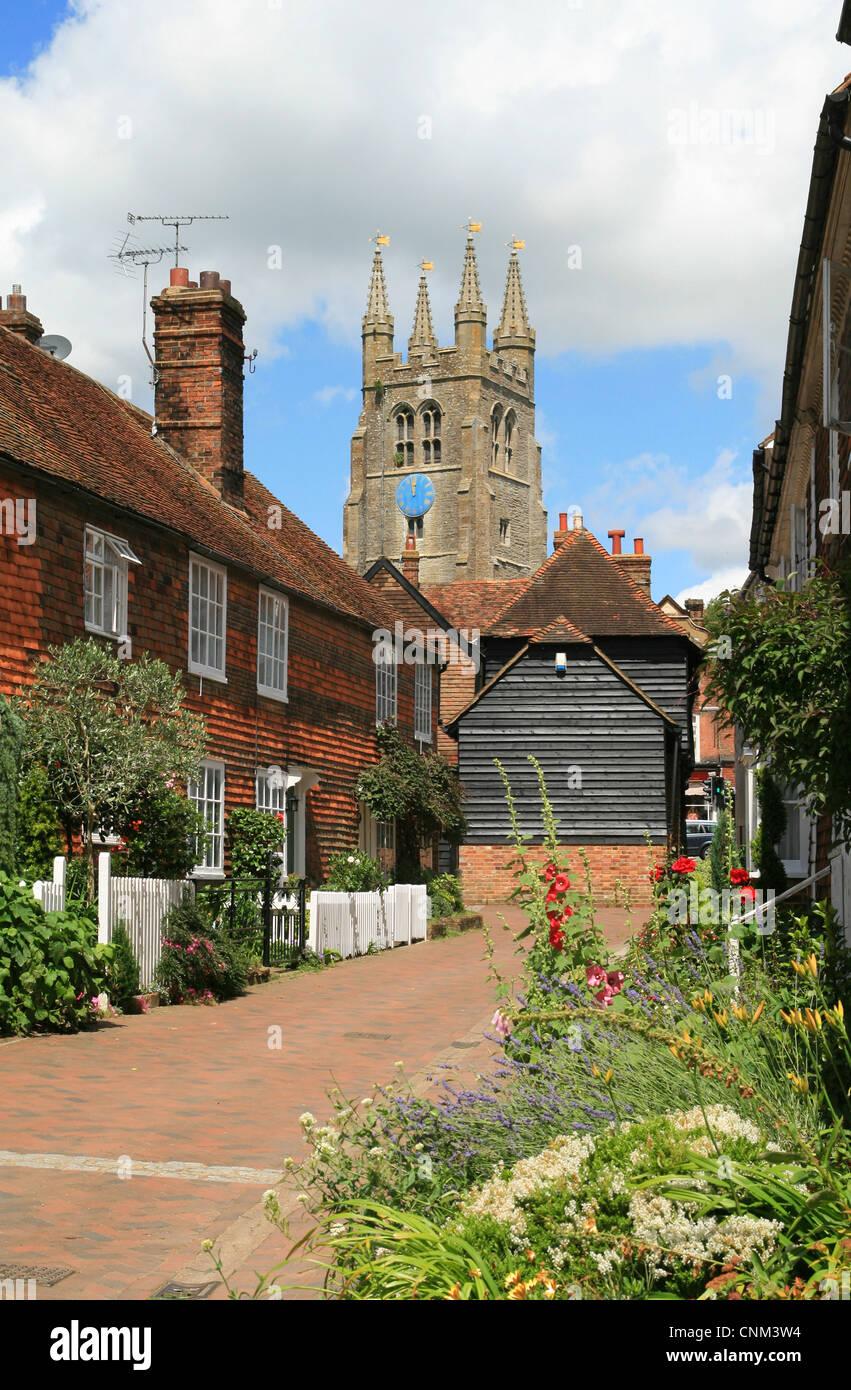 Bell Walk and church Tenterden Kent England UK - Stock Image