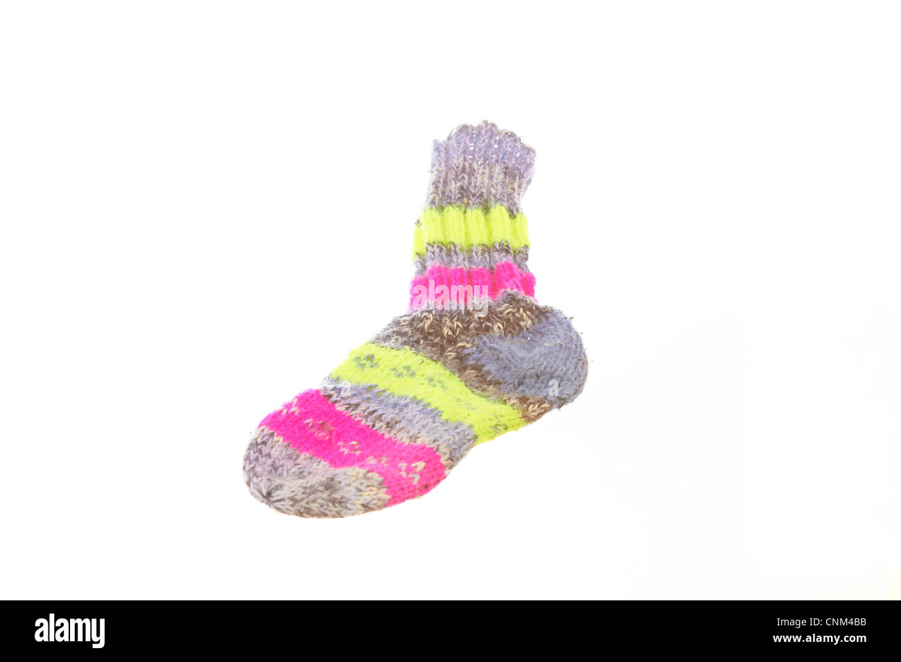 Knitted sock in several colors Stock Photo