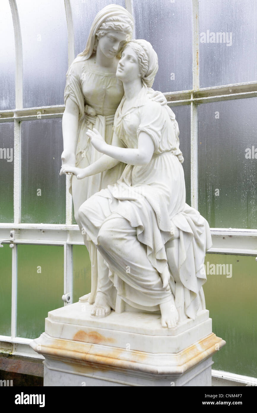 Marble sculpture The Sisters of Bethany by John Warrington Wood, Kibble Palace Winter Gardens, West End, Glasgow, Stock Photo