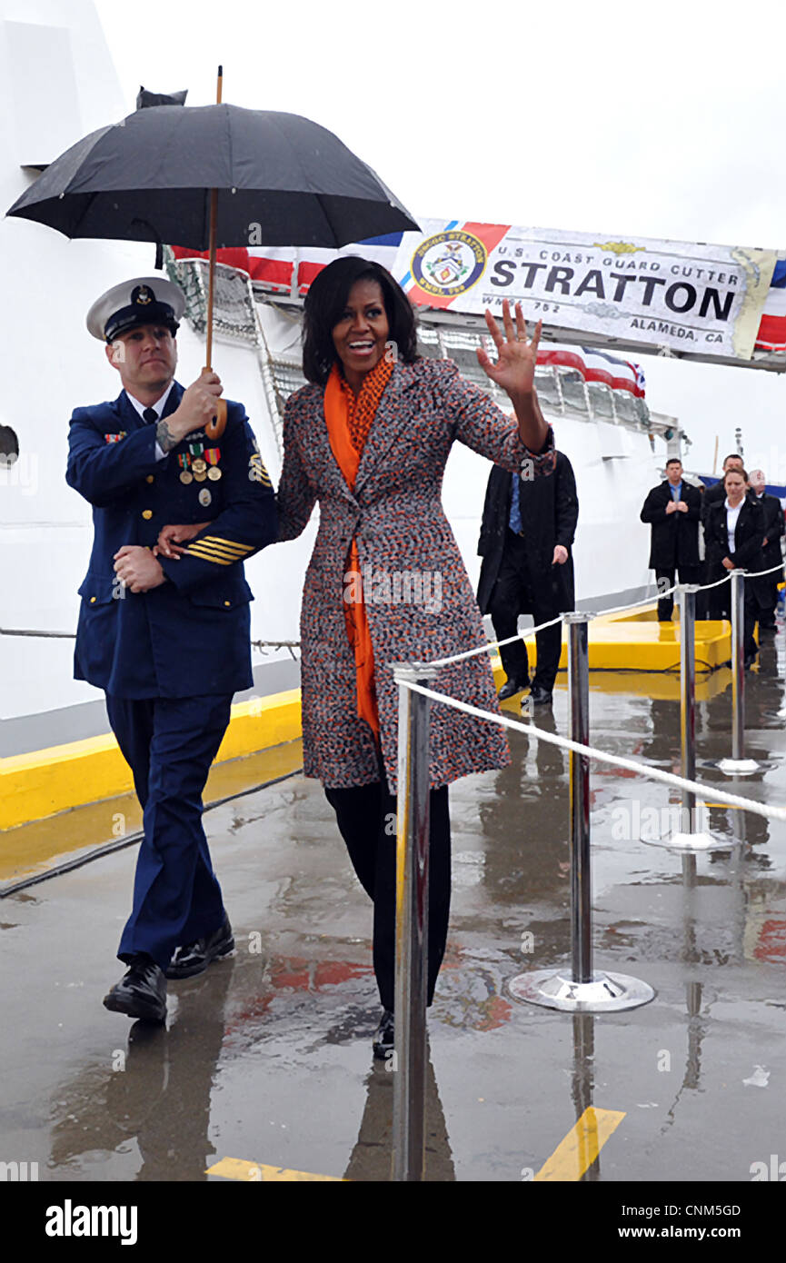 First lady Michelle Obama arrives at the Coast Guard Cutter Stratton before a commissioning ceremony March 31, 201 Stock Photo