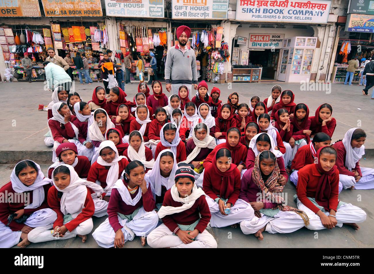 Asia India Punjab Amritsar schoolchildren - Stock Image