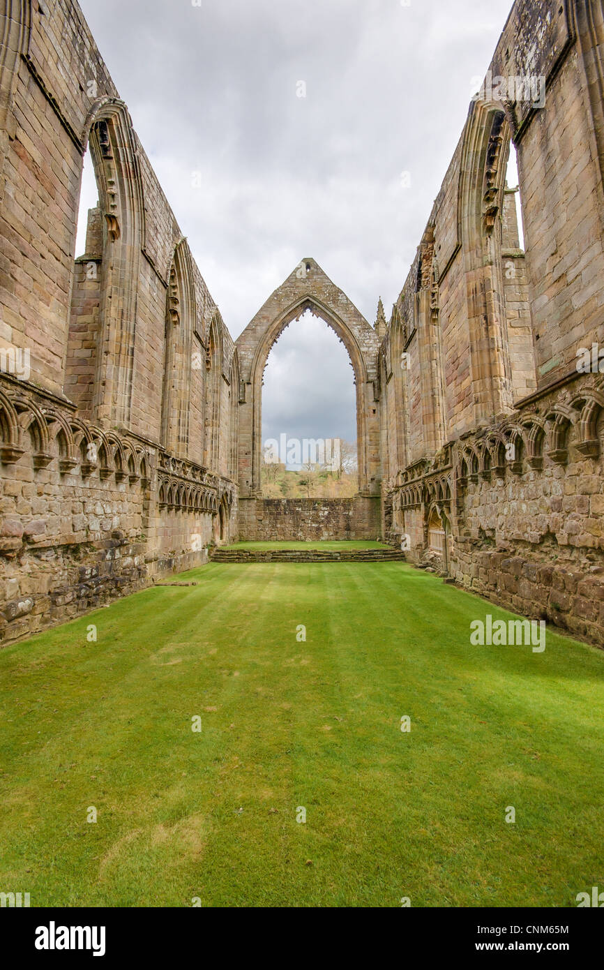 Ruins of the priory at Bolton Abbey, Wharfedale, North Yorkshire. - Stock Image