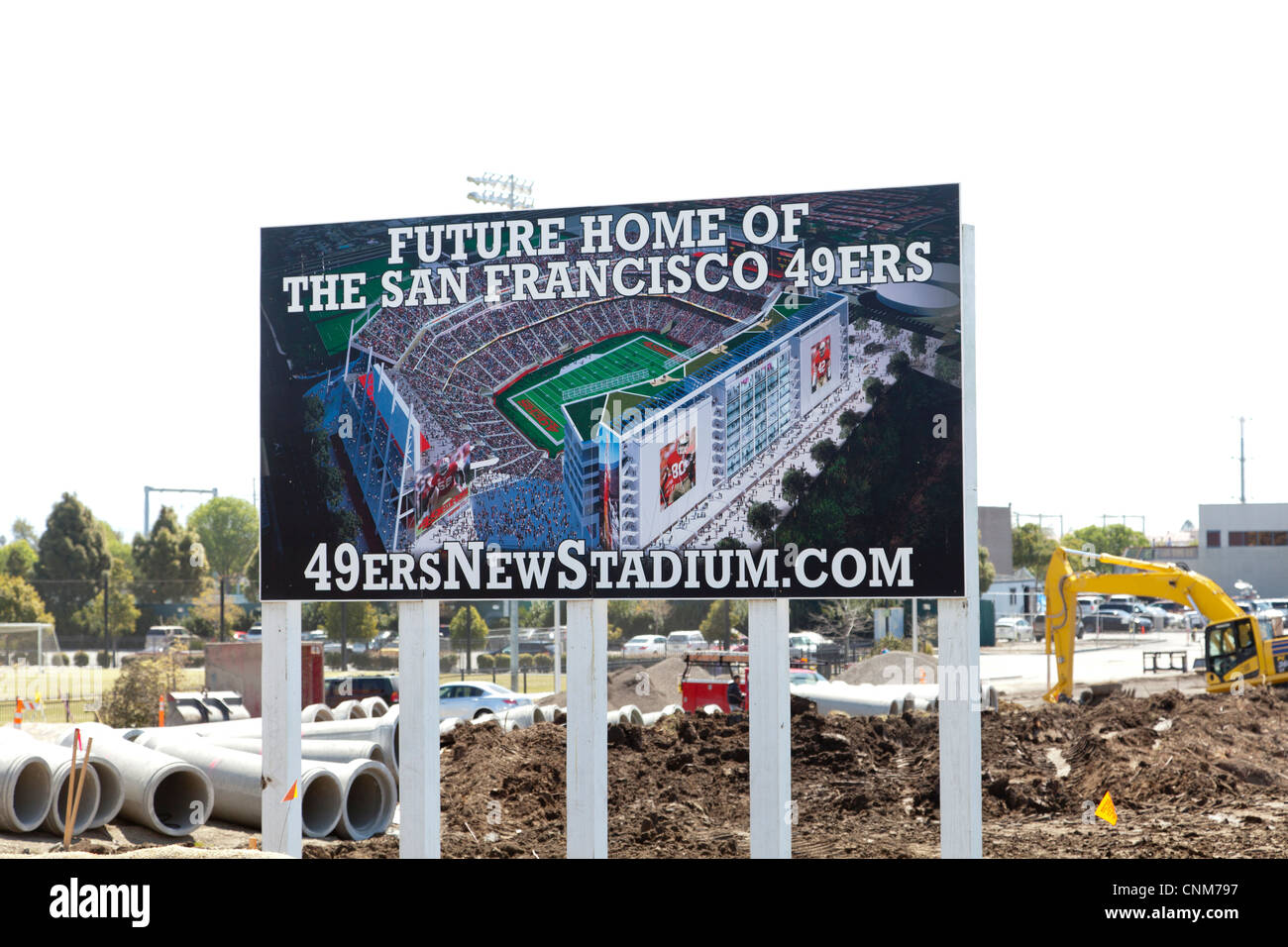 Future Home of the 49er Sign in front of stadium construction. - Stock Image