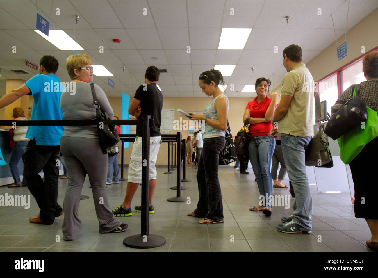 Miami Florida Department of Highway Safety & Motor Vehicles Driver License Service Center counter renewal reactivation - Stock Image