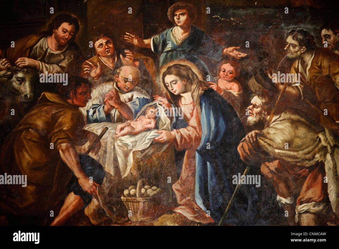 Nativity painting in Iglesia ex-conventual de Ntra. Sra del Carmen, Antequera, Andalucia, Spain, Europe - Stock Image